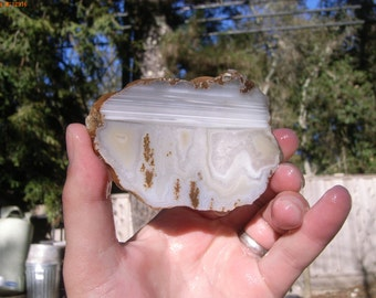 Plume Agate Slab With Banding