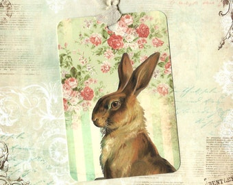 Tags, Gift Tags, Rabbit, Bunny Tags, Rabbit Tags, Vintage Style