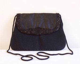 Vintage 1960s Black Beaded  Evening Purse by Fine Arts bag Co.