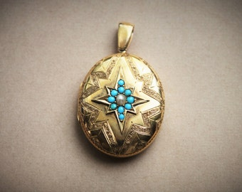 Large Victorian 14k Gold Locket with Persian Turquoise and Pearl Starburst / Memorial Tintype Book Chain Locket