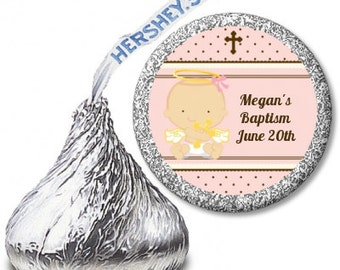 Angel Baby Girl with Cross  - Baptism / Christening Personalized Hershey Kiss Stickers - Party Chocolate Favor Labels