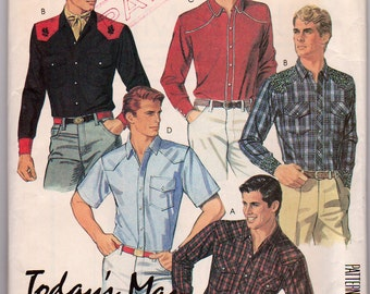 Vintage 1985 McCalls 2053 Mens Button or snap fastened western shirt size 40