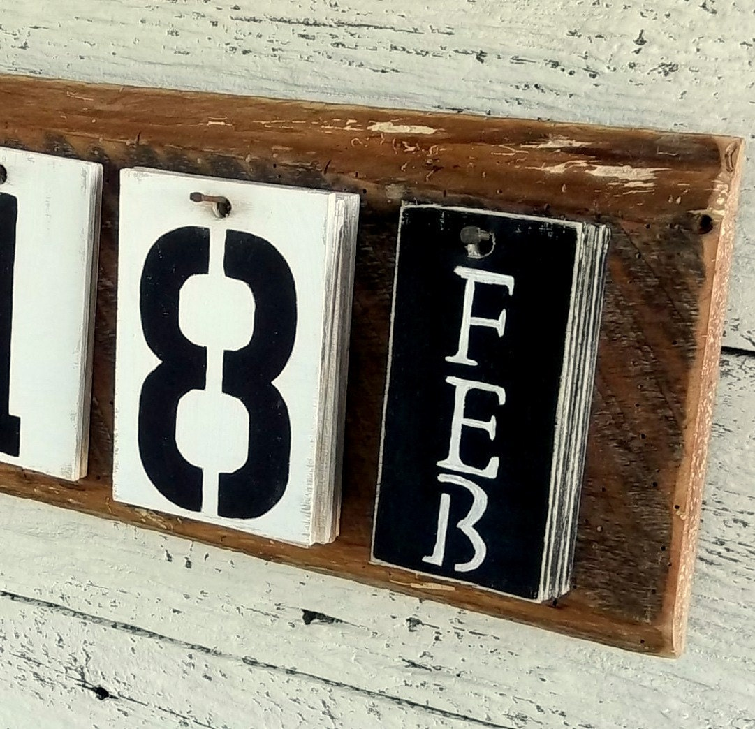 Wooden perpetual wall calendar farmhouse decor salvaged barn - Wooden perpetual wall calendar ...