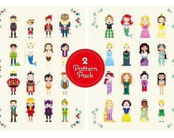 2 Pattern Pack - Disney Princes and Princesses Cross Stitch Pixel Sampler - PDF