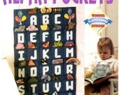 Alphabet Pockets Plastic Canvas Needlepoint Child Nursery Wall Hanging ABC Inserts Elephant Watermelon Penguin Craft Pattern Leaflet 913804