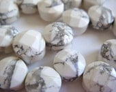 16. White Turquoise 6mm Faceted Briolette Coin Shape 8 Inches 28pcs Stone Bead
