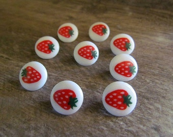 Vintage Plastic Strawberry Picture Buttons Set of Nine