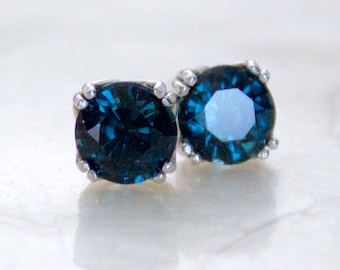 Vintage Style 5mm Midnight Blue Spinel & Sterling Silver Post/Stud Earrings One of a Kind Natural Conflict Free Nickel Free Ready to Ship