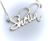 Name Necklace, Custom Name Necklace, Free Hand Name Necklace, Silver Name Necklace, Signature Name Necklace
