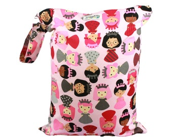 Diaper Bag Esential - Large Wet Bag with Indestructable PUL  - Girl Power -  for Cloth Diapers, Potty Training, Wet Swimsuits, Mama Cloth