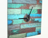 SILENT Turquoise Green Wood Image Wall Clock, Square Wall Clock, Trending Home Decor, Wall Decor, Unique Wall Clock - 2005