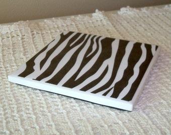 Free Shipping, Black & White Zebra Print Coasters, Ceramic Tile Coaster, Gift for Coworker, Desk Accessories, Office Decor, Dorm Decor  030A