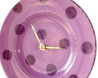 SILENT Purple Polka Dot Wall Clock, Ceramic Plate Wall Clock, Kitchen Clock, Unique Wall Clock, Gift for Teen Bedroom, Dorm Room Decor  1878