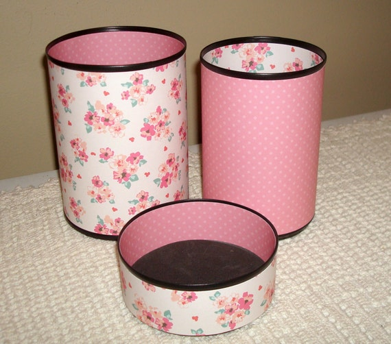Pink Desk Accessories in Floral and Polka Dot Patterns