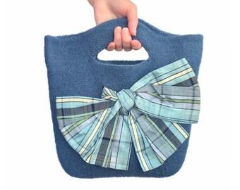 Blue Felt Purse Knitted Felted Wool Eileen Dusk Blue Bag Silk Lining Bow Spring Summer Fashion Lightweight