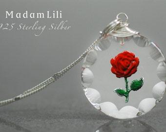 925er DIE ROSE Silber Vintage Glas Kette