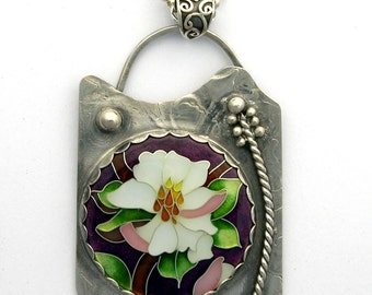 Cloisonne pendant - Magnolia Blossom- Sterling Silver & Fine Silver - Cloisonne Pendant