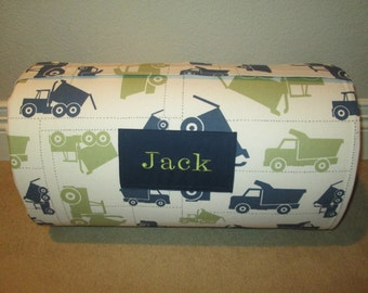 Monogrammed Childrens Pre School THICK COMFY Nap Mat Trucks  w/ Attached Cuddle Double Sided Minky Blanket and Pillow