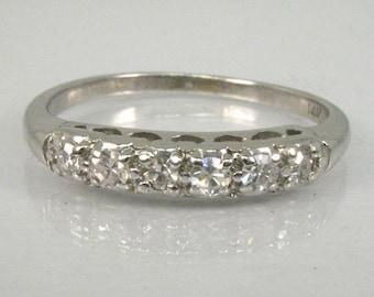 Vintage Diamond Wedding Band - Single Cut Diamonds - 0.20 Carats Diamond Total Weight