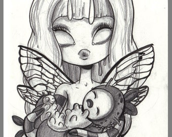Day #188 - Hatching - mother, baby and eggs - the birth original sketch a day drawing! 5.5 x 8.5