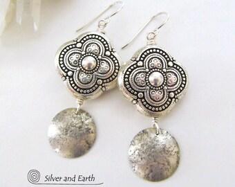 Moroccan Earrings Sterling Silver Earrings Handmade Exotic Ornate Earrings Marrakesh Jewelry Bohemian Arabesque Old World Moroccan Jewelry