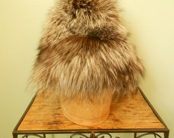 Vintage 1980s Genuine Fox Fur Hat