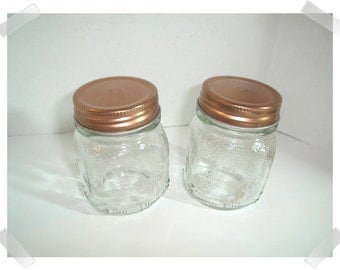 Embossed Glass Jars w/Metal Copper Finish Lids /Set of 2 /Home Decor/ Supplies*