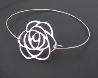 Rose Bangle Bracelet,  Rose Bracelet, Sterling Silver, Jewelry, Friendship Bracelet, Gift