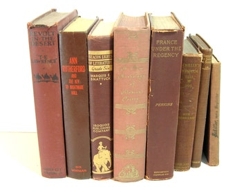 Brown Books, Instant Library, Vintage Book Collection, Home Decor Assortment, Decorator Books Set Of Eight