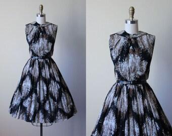 50s Dress - Vintage 1950s Dress - Feather Harlequin Diamond Print Cotton Designer Sundress w Ascot Bow XS - Boxwood Maze Dress