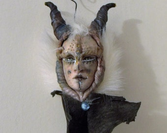 Fantasy hanging ornament one of kind polymer clay hand sculpted