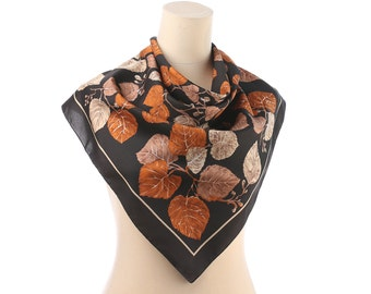 Bohemian Scarf 80s Vintage Boho Autumn Fall Shawl LINDEN Leaves Print Scarf Rustic Brown Beige Retro Scarf 26 inch Gift for Her