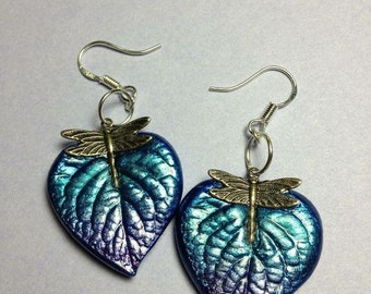 Blue and purple Dragonfly heart earrings. Naturally beautiful and one of a kind pieces of nature hand cast from real leaves.