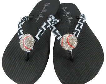 Baseball Flip Flops -Chevron Black Ribbon for Baseball Moms or choose colors- flat or wedges