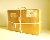 1930s shipping case, hardboard box with canvas straps, industrial storage, Chicago to Sheboygan, antique suitcase, vintage briefcase