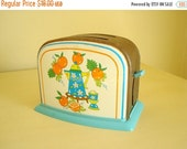 Ohio Art toy toaster, vintage turquoise 1960s pretend play kitchen ware, litho tin childs toy, metal & plastic toaster, cute diner decor