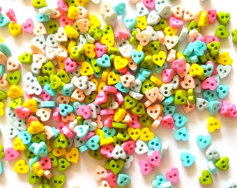 100 pcs Tiny heart button 7mm  mix beige, yellow, pink, blue