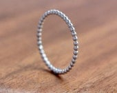 Silver Stacking Ring - Beaded Silver Stacking Ring - Thin silver ring