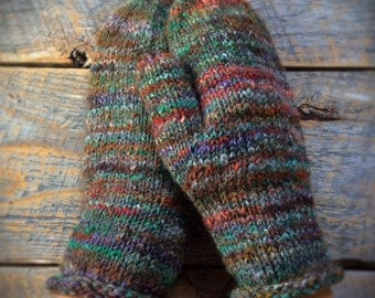 OOAK unique wool mittens - gift for her- womens wool mittens - hand knit - warm - hand knitted - warm fashionable - one of a kind