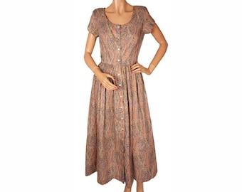 Vintage 1990s Liberty of London Cotton Dress - Paisley Print - J.G. Hook - M