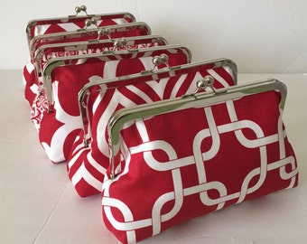 Bridesmaid Clutch, Red and White prints,  Custom clutches for your bridal party