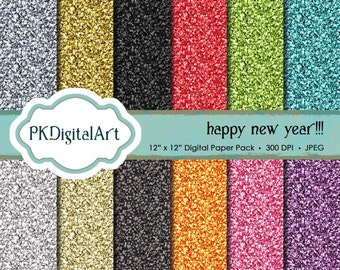 Glitter Paper Pack: New Year's Eve Glitter Digital Papers suitable for scrapbooking, cards, background