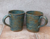 Pair of latte coffee mug tea cup in stoneware hand thrown ceramic pottery