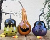 Halloween Gourd Jack O Lantern, Vampire, and Frankenstein Primitive Pumpkin Decoration ( sold as a trio )
