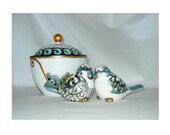 Bird Salt Pepper Shaker Cake Toppers or Sugar Bowl, Porcelain Table Top Decor