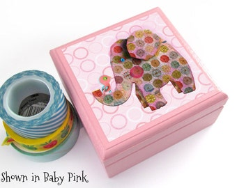 Elephant with Bird Box - Magnetic Lidded wooden box - Pick your own Custom Color