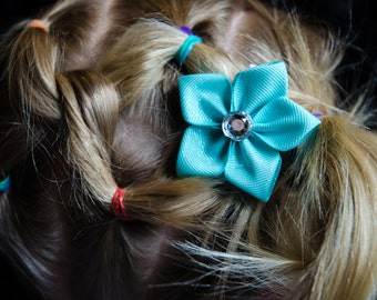 Hair Bow - Aqua Glitter Grosgrain 5 Petal Hair Flower