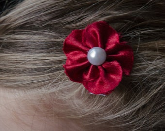 Hair Bow - Maroon Satin 5 Petal Hair Flower Clip