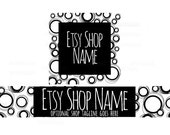 Etsy Shop Banners - Etsy Banners - Black and White Etsy Shop Banner - Geometric Etsy Shop Banners - Etsy Banner Sets - 2 Piece - 1-16