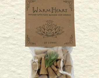 Warm Heart Blend Incense Cones with Rose Quartz Gem Essence, Amber, Rosemary, Lavender